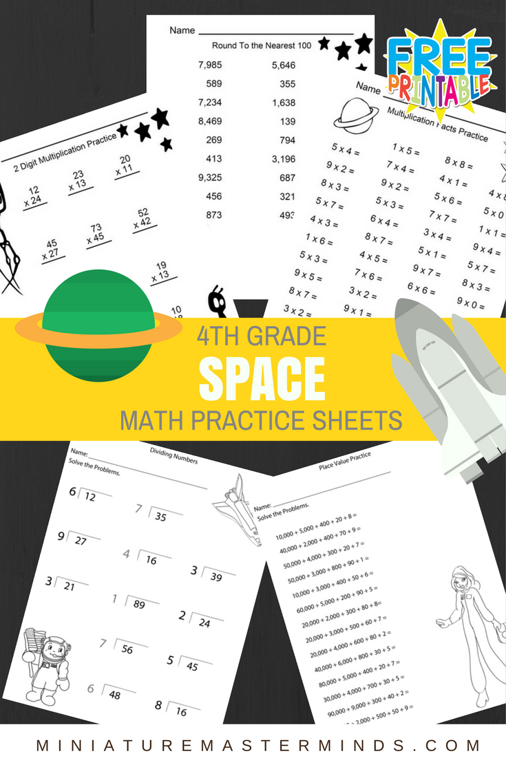 Space Theme – 4th Grade Math Practice Sheets – Multiplication Facts, 2 Digit Multiplication Practice, Rounding, Dividing