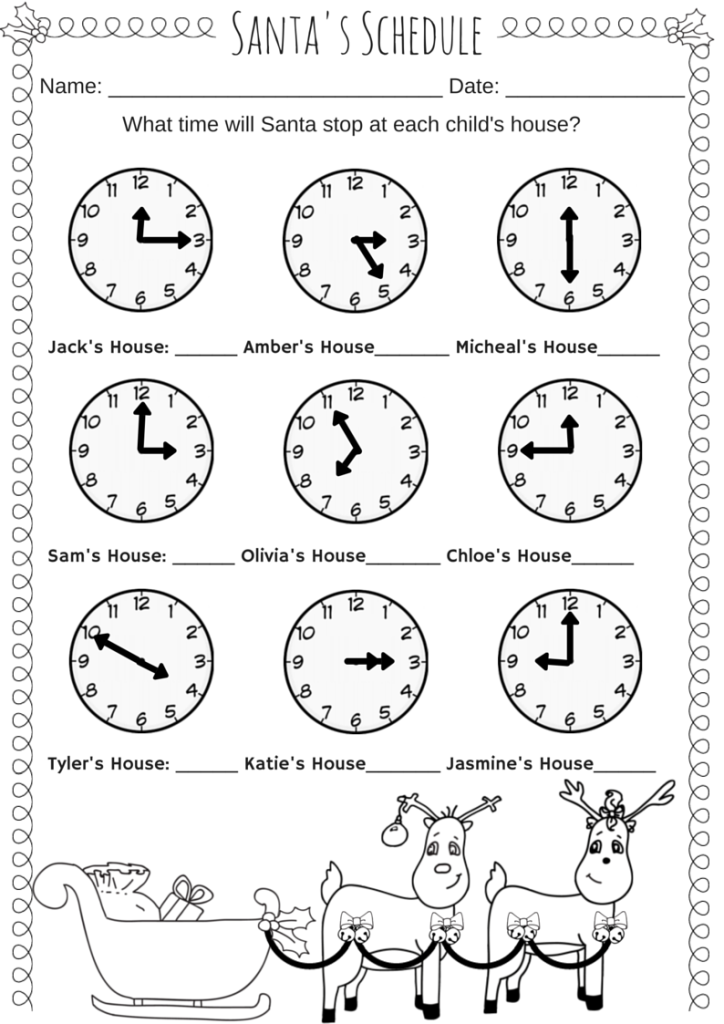 Santas Schedule Time Worksheet Miniature Masterminds – Time Worksheet