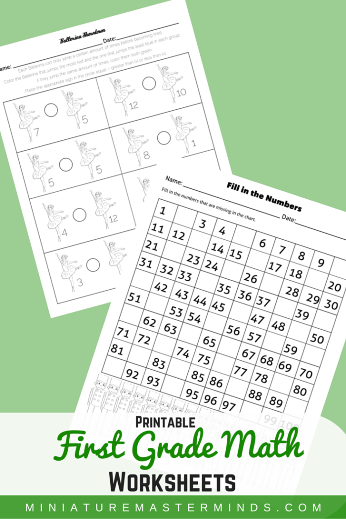 Two First Grade Math Worksheets The Nutcracker Theme Miniature. First Grade Math Worksheets. First Grade. First Grade Math Work Sheets At Clickcart.co