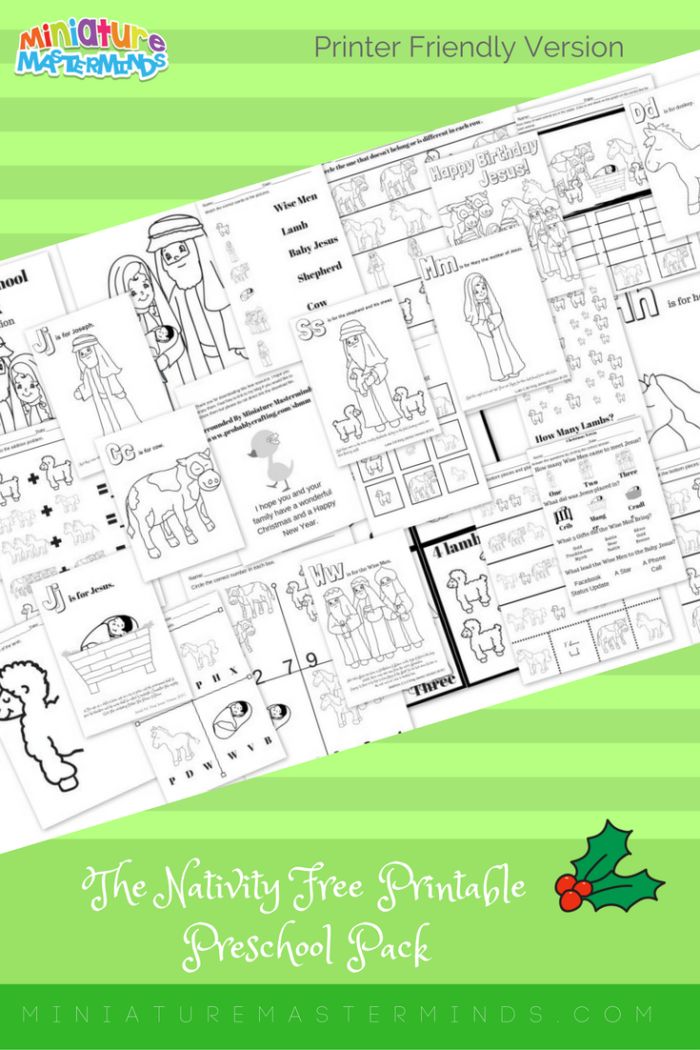 The Nativity Free Printable Preschool Pack 23 Pages- Printer Friendly Version