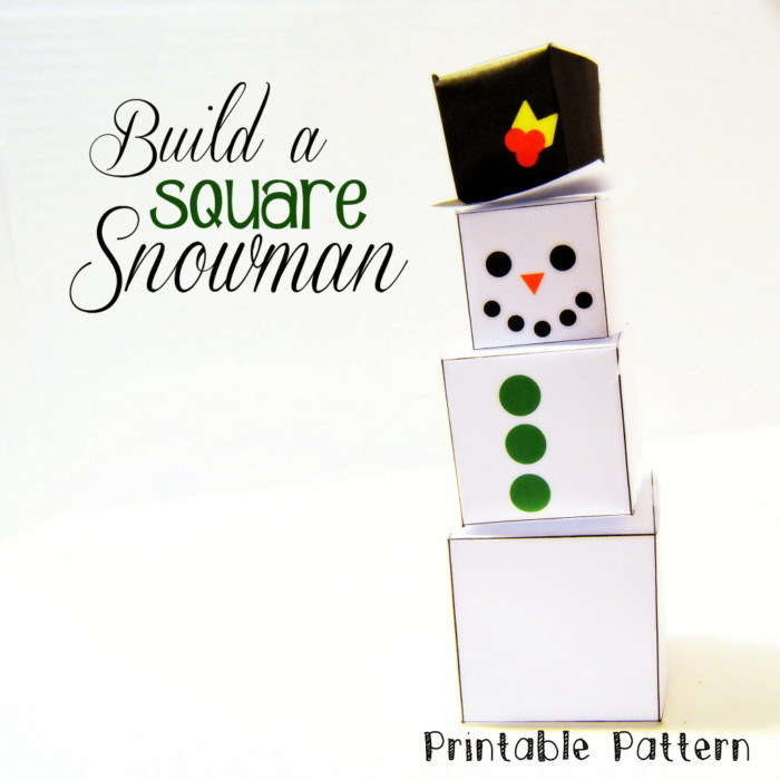 Build a Square Snowman Printable Pattern