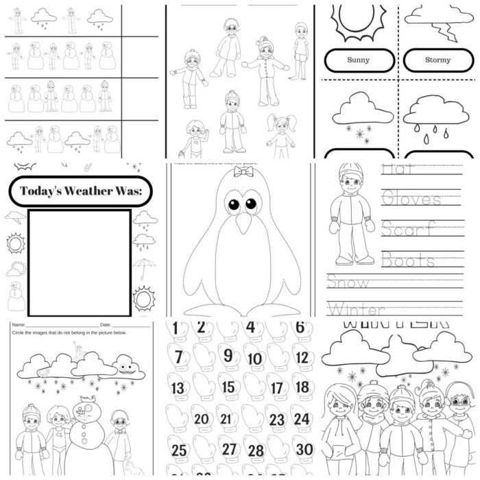 winter weather fun 10 page educational activity pack for preschoolers miniature masterminds. Black Bedroom Furniture Sets. Home Design Ideas