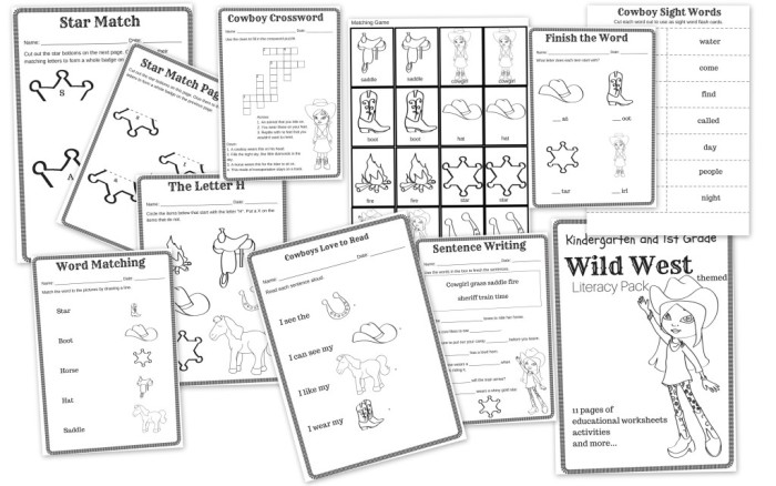 wild west themed literacy pack free 11 page printable educational pack for k 1 graders. Black Bedroom Furniture Sets. Home Design Ideas