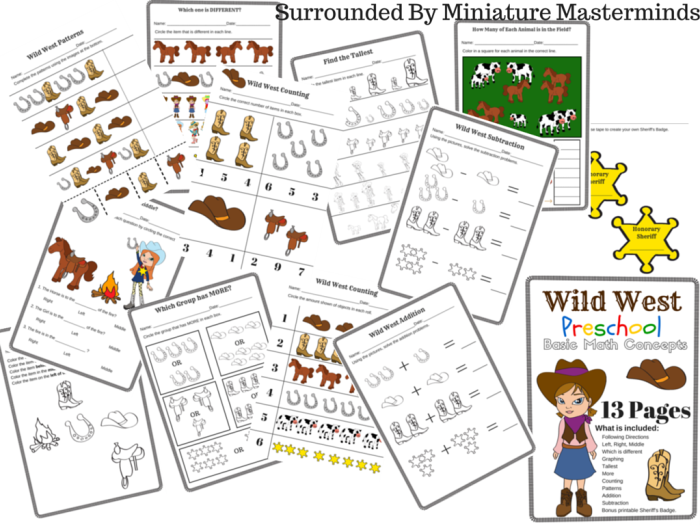 wild west preschool basic math concepts free 13 page printable pack miniature masterminds. Black Bedroom Furniture Sets. Home Design Ideas