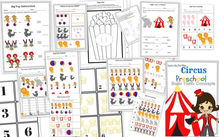 Let's Go to the Circus – Preschool Basic Math Concept Free 15 Page Printable Educational Pack