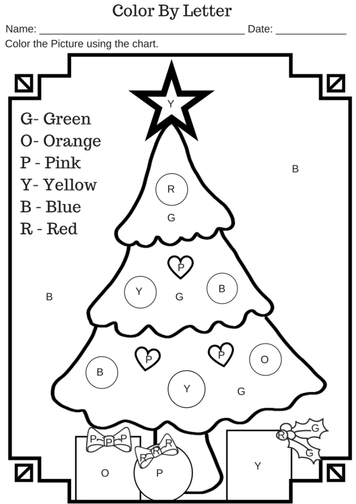 color by letter christmas tree free printable worksheet. Black Bedroom Furniture Sets. Home Design Ideas