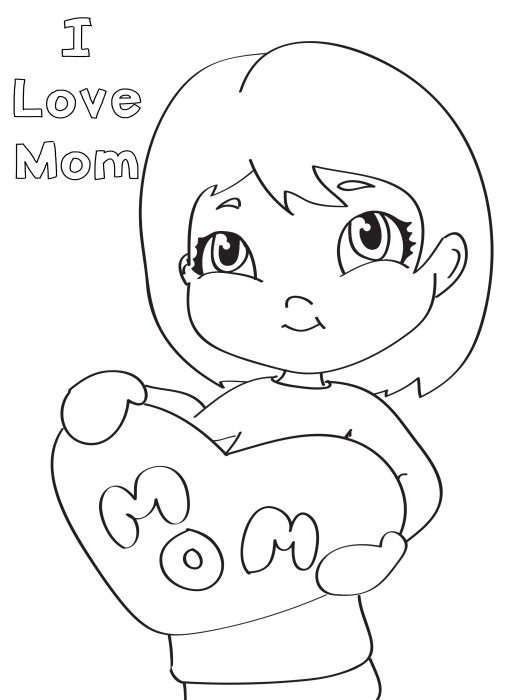 I love mom drawing of little girl coloring page for I love u mom coloring pages