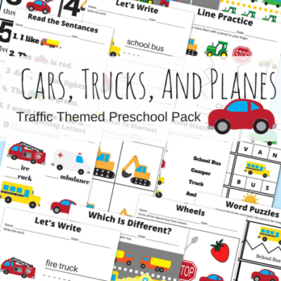 Cars-Trucks-And-Planes-Traffic-Themed-Preschool-Printable-Basic-Skills-Pack