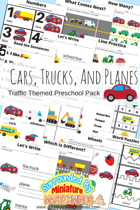 Cars-Trucks-And-Planes-Traffic-Themed-Preschool-Printable-Basic-Skills-Pack