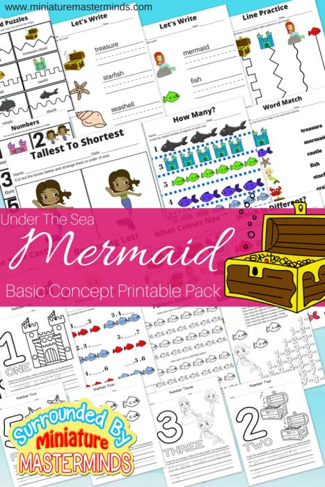 Under The Sea Mermaid Free Printable Basic Concept Book