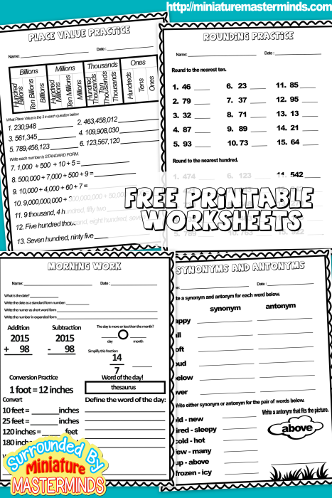 Free Printable Daily Work For 9 8 2015 4th And 5th Grade