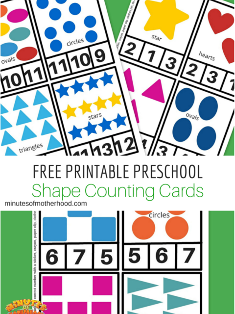 Free Printable Preschool Shape Counting Cards