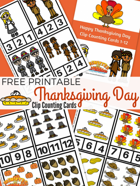 Free Printable Thanksgiving Day Clip Counting Cards From One To Twelve