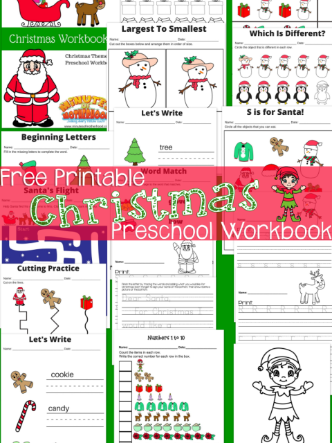 Free Printable Here Comes Santa Claus Preschool Workbook