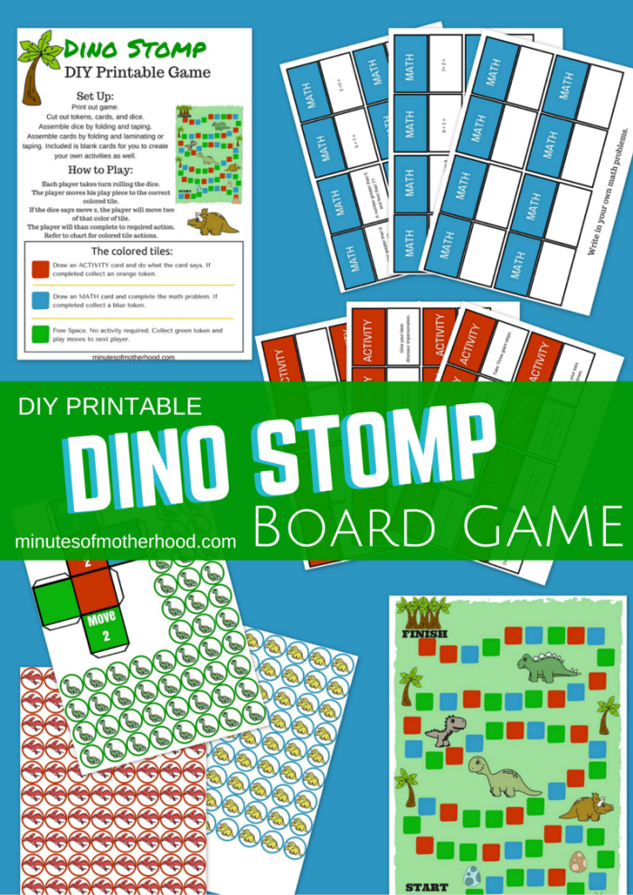 Dino Stomp Free DIY Printable Board Game – Miniature Masterminds
