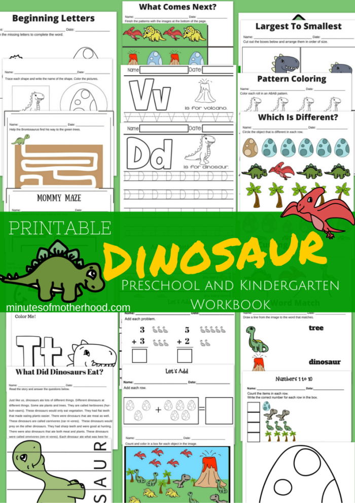 20+ Page Dinosaur Themed Free Printable Preschool and ...