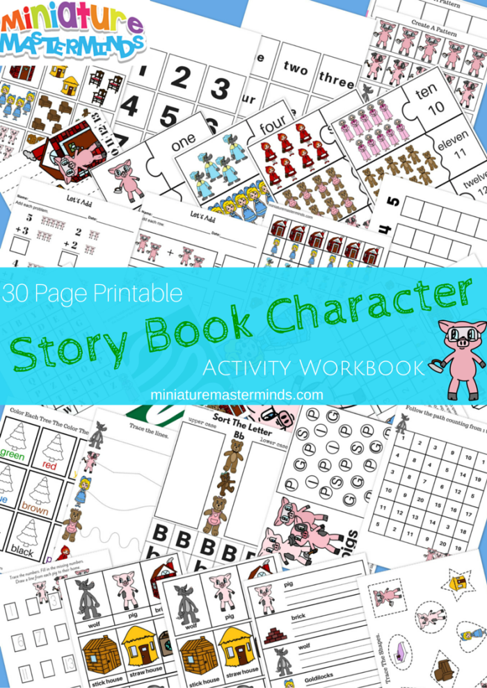 Story Book Characters 30 Pages Printable Activity Book – Miniature ...