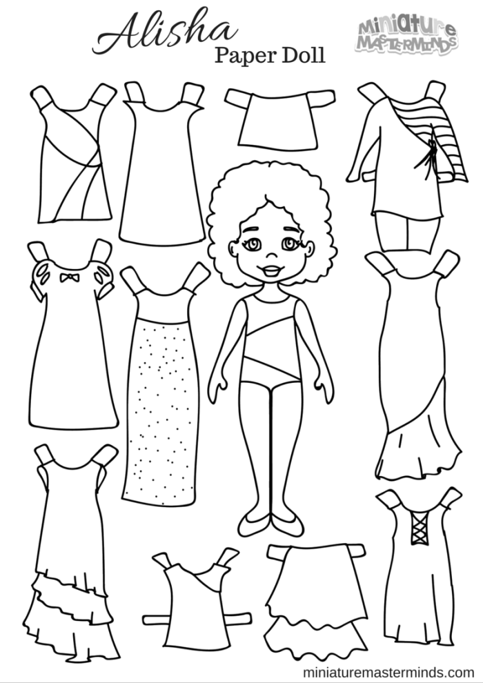 photo about Free Printable Paper Dolls Black and White named Paper Dolls Archives ⋆ Miniature Masterminds