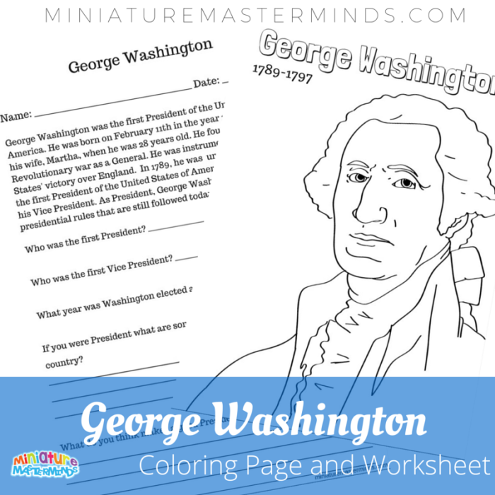 george washington coloring page with literacy worksheet