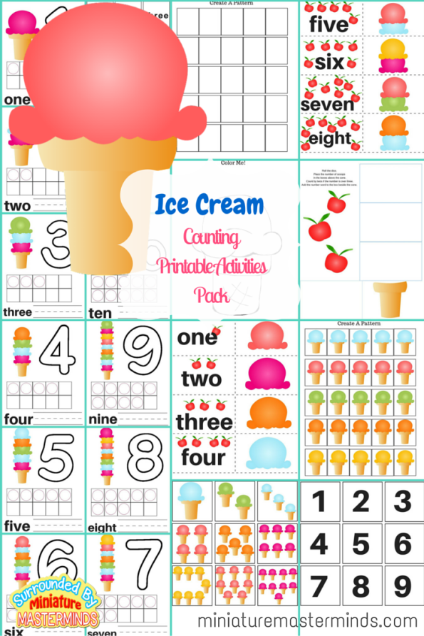 Ice Cream Scoop Math Printable Activities Pack - 6 Different Activities Included
