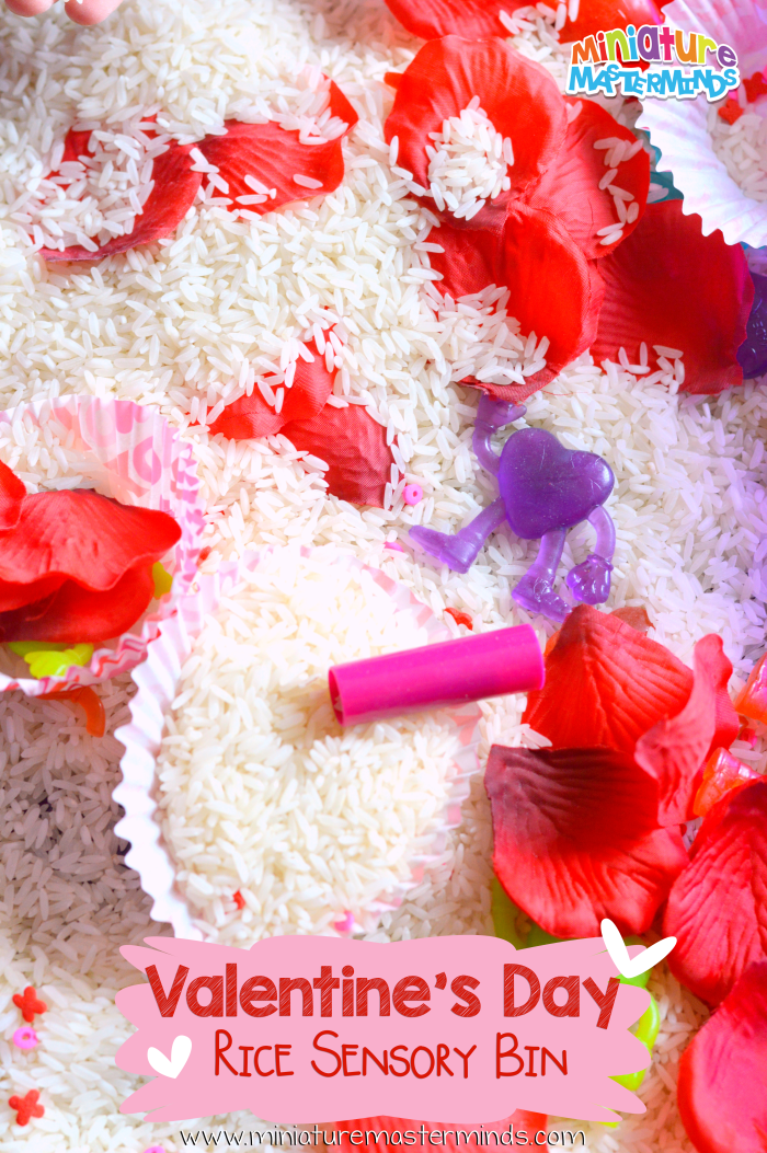 Valentine's Day Rice Sensory Bin Play
