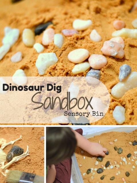Dinosaur Dig Sandbox Sensory Bin