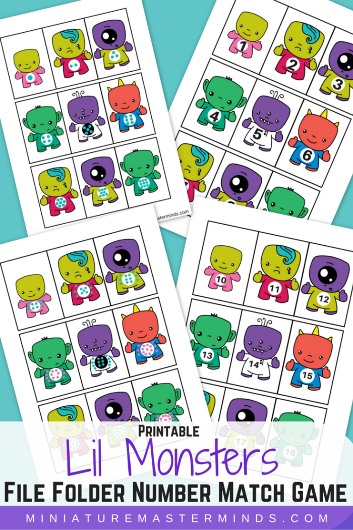 Lil Monster File Folder Number Matching Game