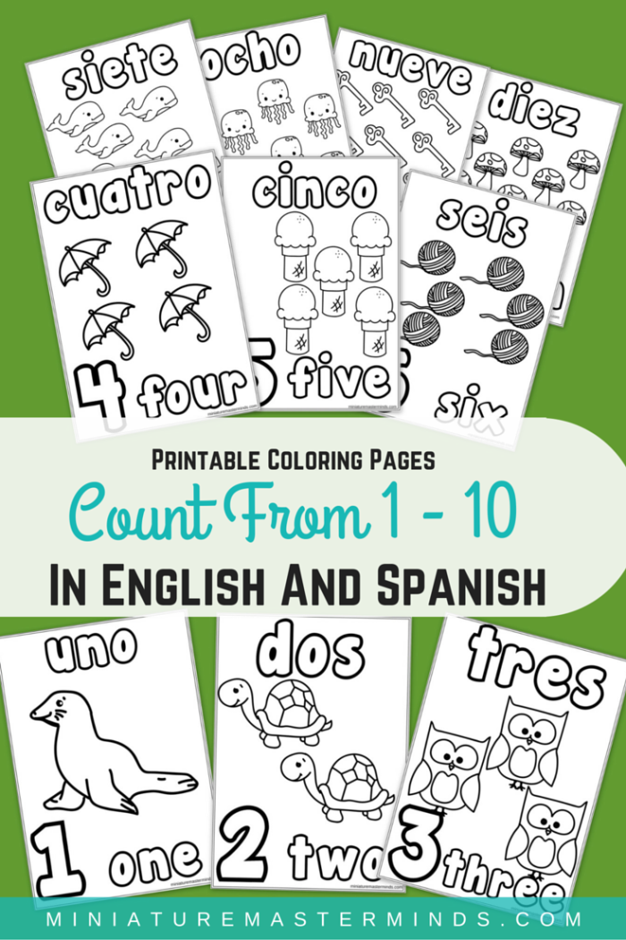 Printable Coloring Pages Counting From 1 10 In English And Spanish