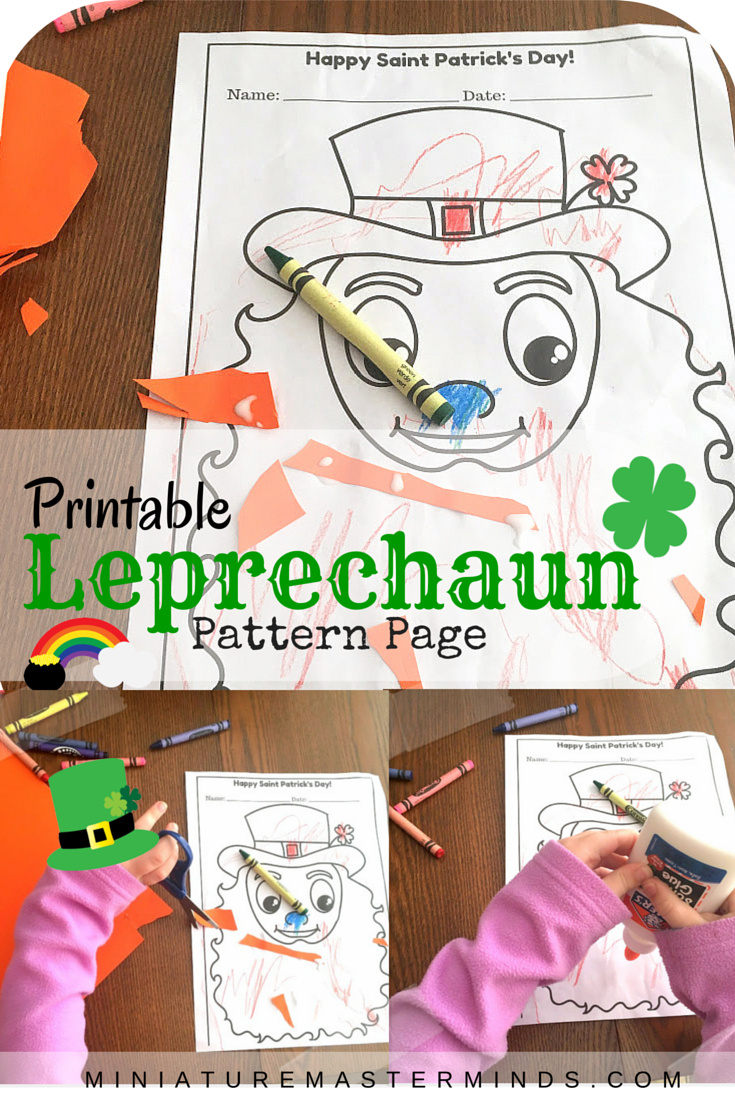 Printable Leprechaun Pattern Page Happy Saint Patrick's Day