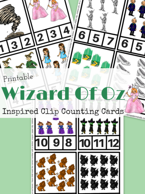 Printable Wizard of Oz Inspired Clip Counting Cards