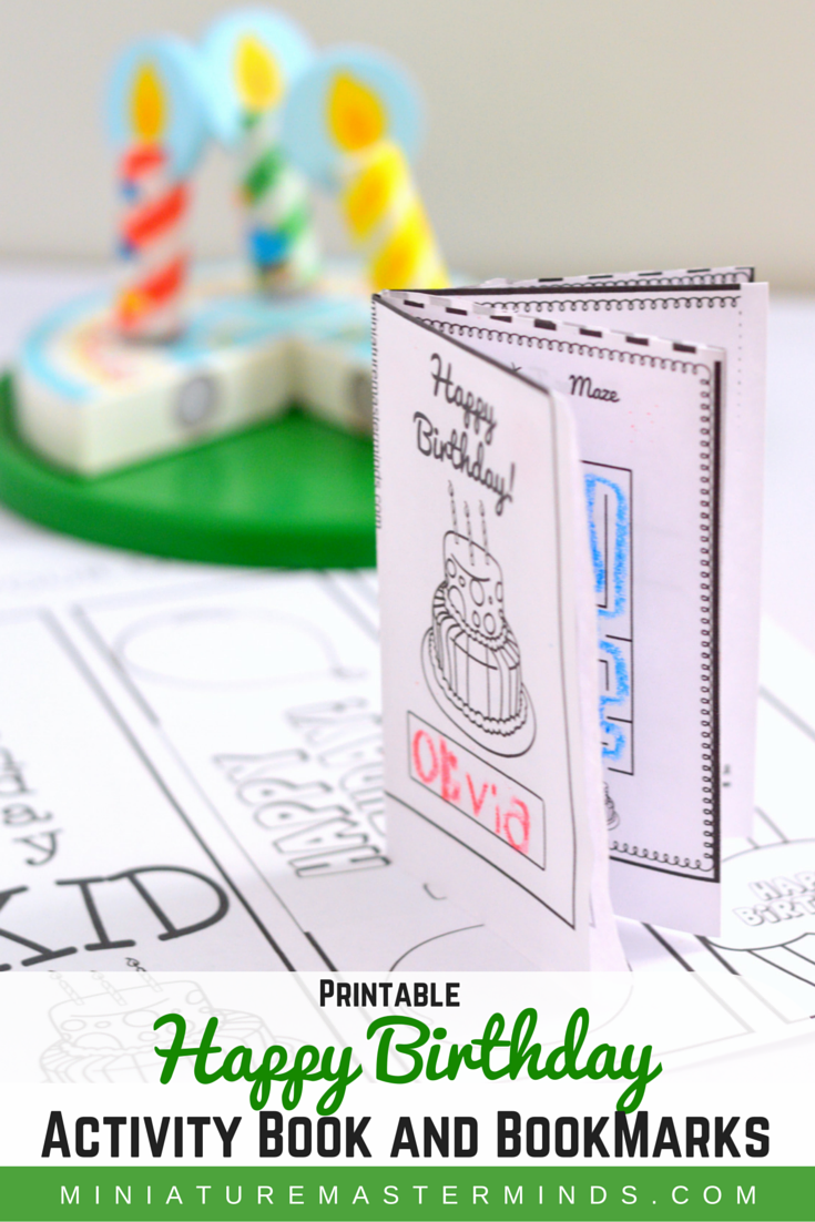 Free Printable Happy Birthday Activity and Game Book For Treat Bags And Bonus Bookmarks