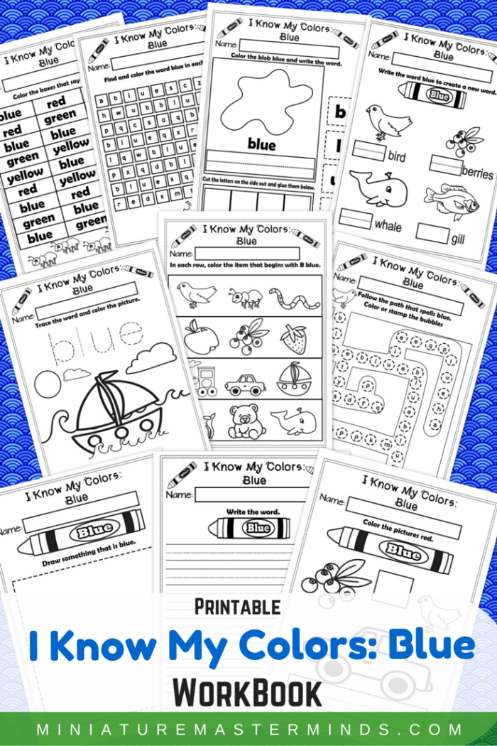 I Know My Colors – Blue No-Prep Printable WorkBook – Miniature ...