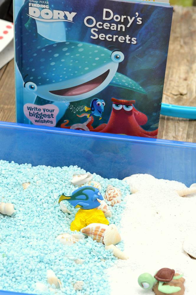 Dory's Ocean Secrets Book Inspired Sensory Bin