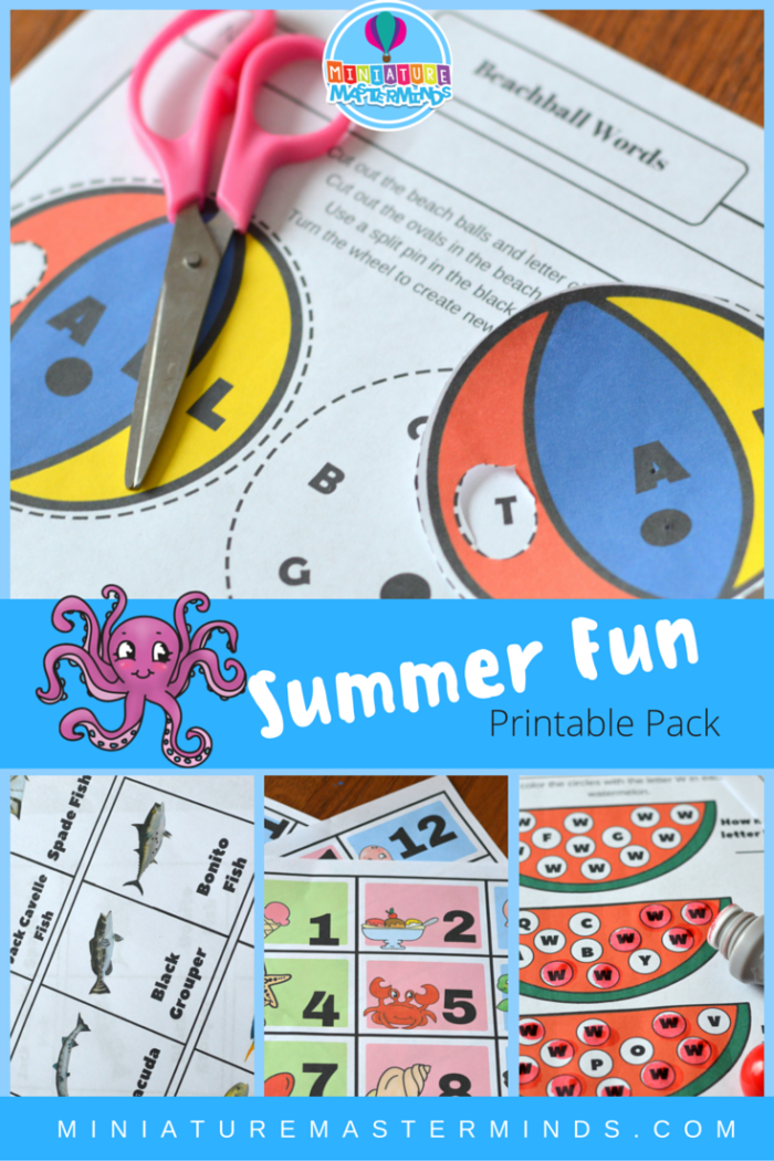 Summer Fun Printable Pack (Calendar numbers, Fish Matching Game, And ...