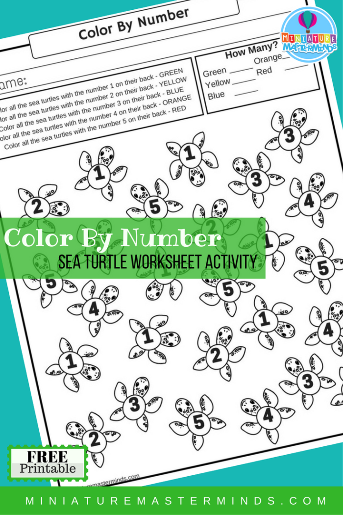 Color By Number Sea Turtle Free Printable Worksheet Activity