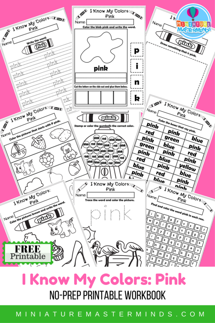 I Know My Colors Printable Work Book Series Pink – Miniature Masterminds