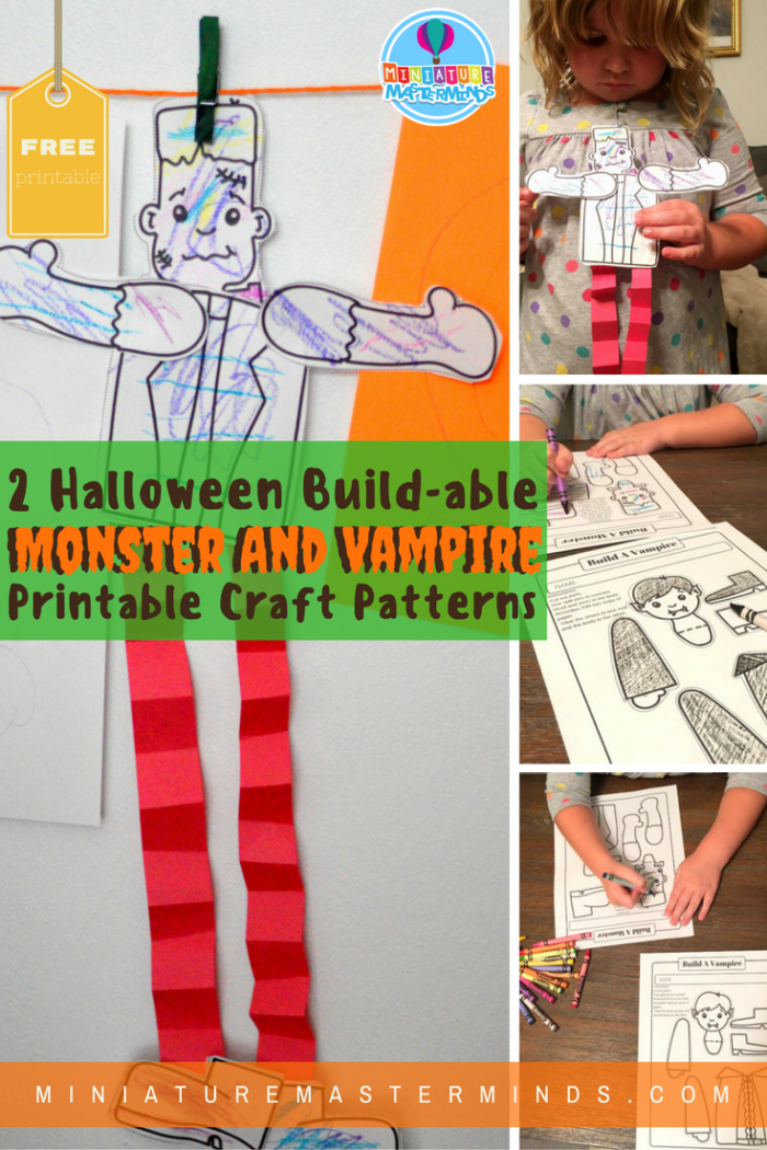 graphic relating to Halloween Craft Printable referred to as Develop A Monster and Produce A Vampire Printable Halloween