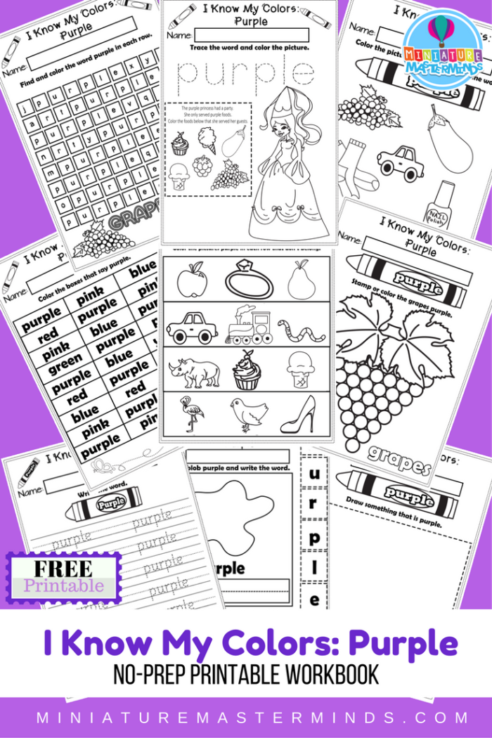 I Know My Colors Printable Work Book Series 9 Page Workbook The ...