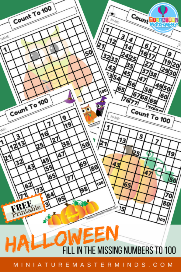 Halloween Fill in The Numbers up To 100 4 Worksheets From Miniature Masterminds