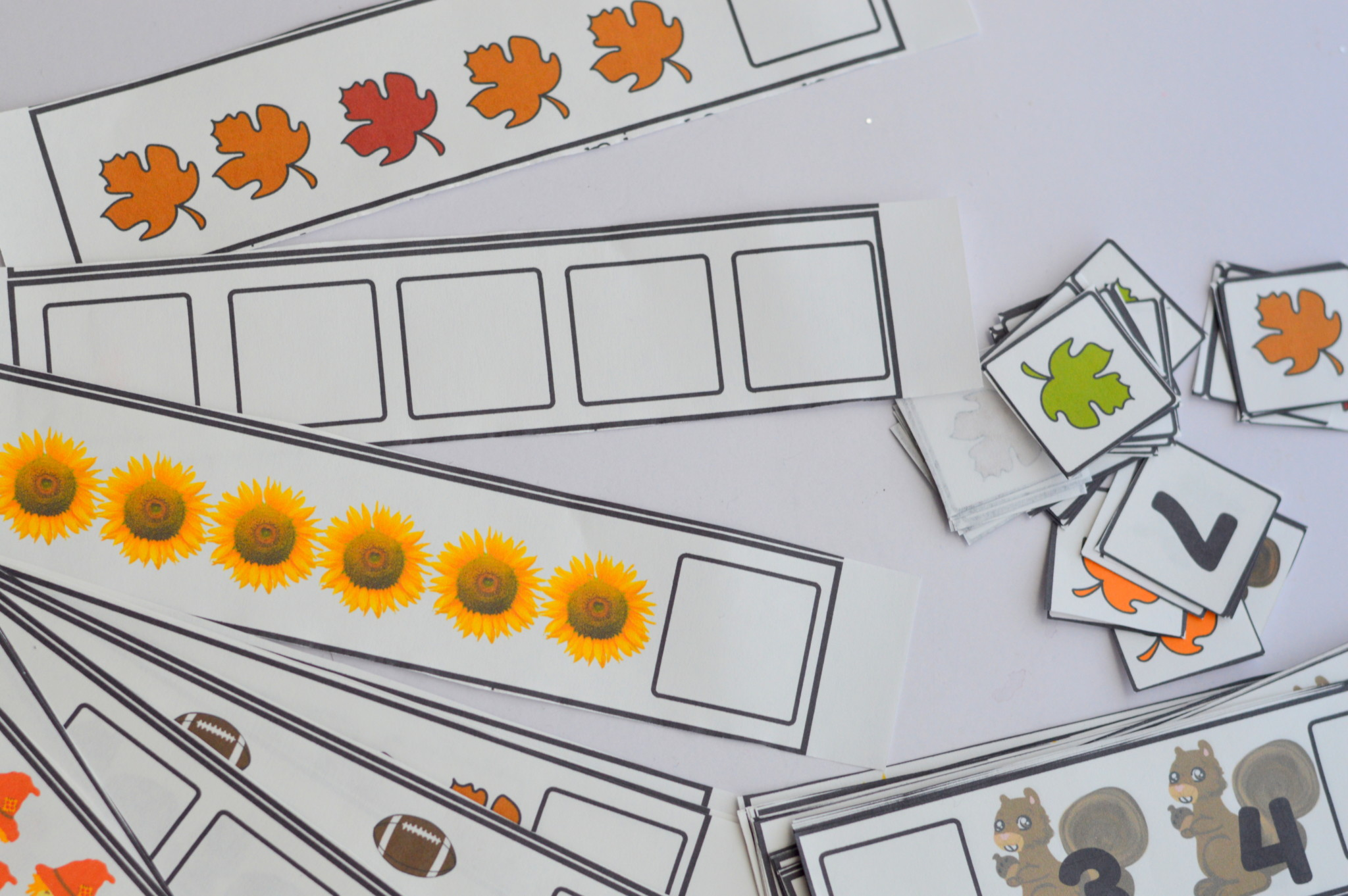 Printable Preschool Fall Fill in Missing Number, Counting, And Pattern Strip Cards