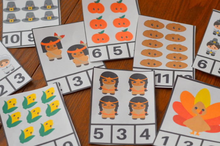 Printable Preschool Thanksgiving Clip Counting Cards
