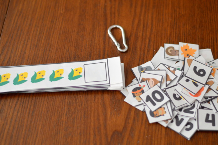 Printable Preschool Thanksgiving Missing Number, Pattern, And Counting Strip Cards