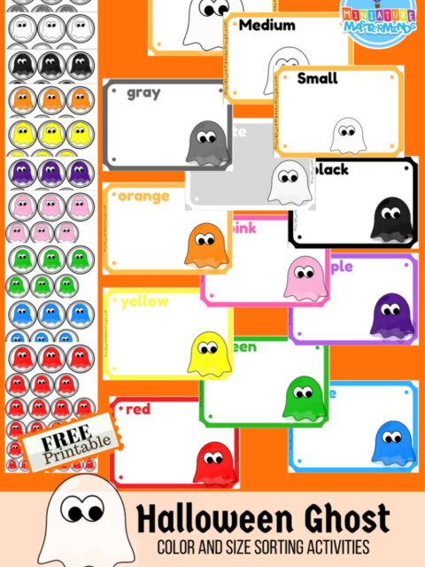 Free Halloween Themed Printable Preschool Color and Size Sorting Ghost Activities