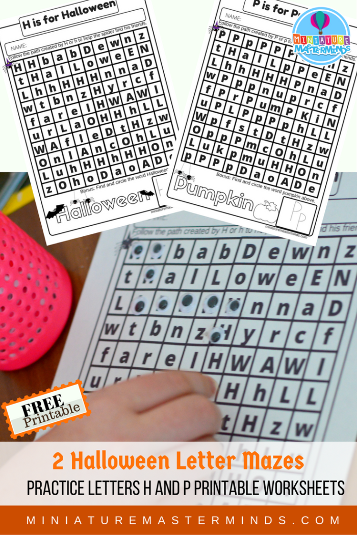 H and P Halloween Letter Practice Mazes Free Worksheet Printables ...