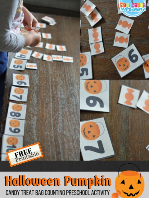 Halloween Pumpkin Candy Treat Bag Counting Preschool Activity