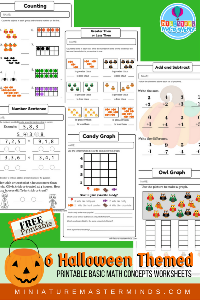 Halloween Themed Free Printable Math Counting Concepts Kindergarten First Grade Worksheets Miniature Masterminds
