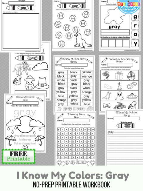 I Know My Colors Series Gray Free Printable No Prep 9 Page Workbook