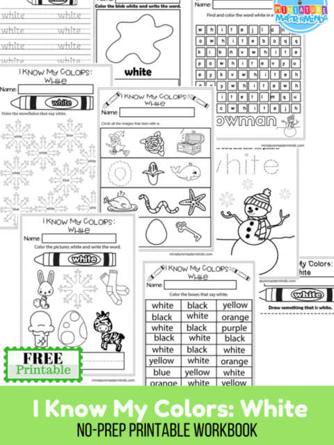 I Know My Colors Series White Free Printable No Prep 9 Page Workbook