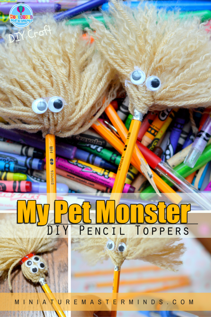 My Pet Monster DIY Pencil Topper Kid Craft Project Miniature Masterminds