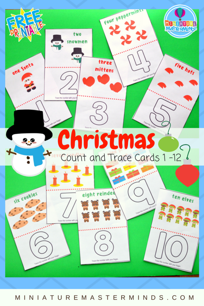 Christmas Count And Trace Cards 1 - 12 Preschool and Toddler Counting and Number Recognition